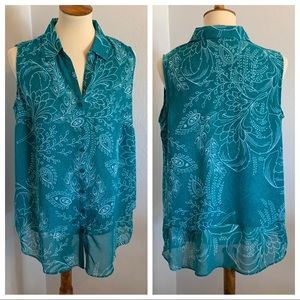 Floral Peacock Print Sleeveless Button Up Top 14W